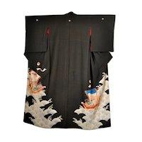 Antique Japanese Silk Kimono Ho-o Bird Dragon Treasure Boats Wedding Kurotomesode
