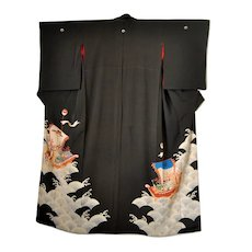 Antique Japanese Silk Kimono Ho-o Bird Dragon Treasure Boats Wedding Kurotomesode