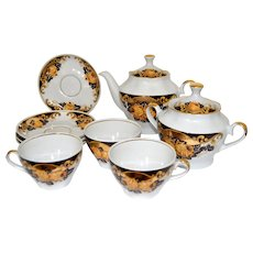Golden Gilt English Roses Porcelain Tea Set Tsars Peterhof Palace (incomplete)