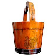 Japanese Wooden Bucket Uchimizu, Water Barrel