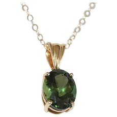 Natural Untreated Green Apatite 14K Gold Necklace 2.69ct