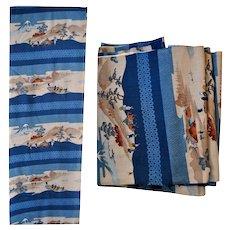 Utagawa Woodblock Printed Fabric with Edo Landscape and People