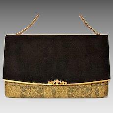 Japanese Velvet Kotobuki Clutch Bag, Kimono Handbag,