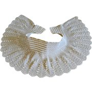 Authentic Edwardian High neck Collar, 1930s Maltese Cotton Lace, Dentelle, Flared Neck-wear, Col Claudine, Bridal