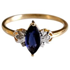Untreated Viking Gemstone Iolite Ring Natural Water Sapphire Blue Purple with Diamond Accents