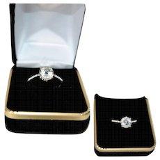 Natural White Emerald Engagement Ring, Brilliant Goshenite, Sterling Silver, Solitaire