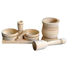 Mediterranean Organic Wood Kitchen Mortar Pestle Salt Pepper Set