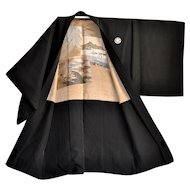 Mens Silk Kimono Haori with Pictorial Embroidery of Yokohama Harbour and Old Coastal Ships