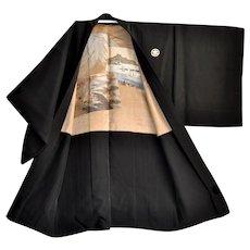 Mens Silk Kimono Haori with Pictorial Embroidery of Yokohama Harbour and Old Coastal Ships