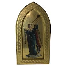 Antique Florence Italy Gilt Gesso Framed Iconic Trumpeting Angel