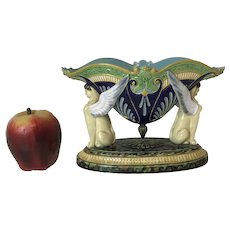 19th C George Jones Majolica Sphinx Egyptian Centerpiece