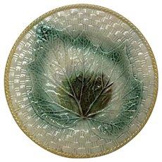 Antique Majolica Plate Basket Texture & Begonia Leaf