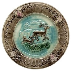 Antique Majolica Plate Deer Dog Landscape Hunting Scene