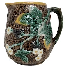 Antique Majolica Pitcher Tree Bark & Blackberry Motif