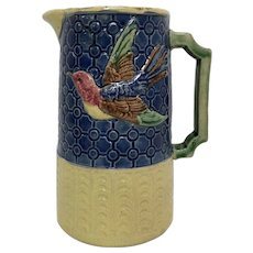 Antique Majolica Pitcher Blue Yellow Bird Hummingbird Woodpecker Motif