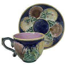Antique Majolica Cup & Saucer Sea Shell Cobalt Blue Glaze