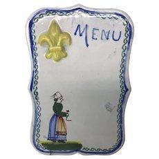 Henriot Quimper Small Painted Pottery Menu Card Plaque