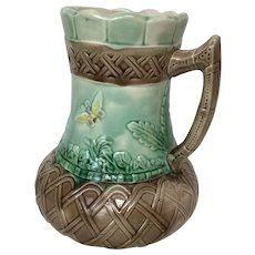 Antique Majolica Pottery Pitcher with Butterfly and Hummingbird Motif
