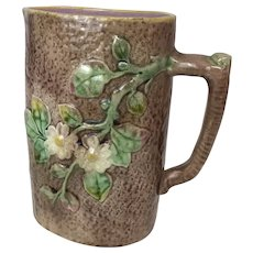 Antique Majolica Pitcher Oblong in Shape with Dogwood Flower Motif