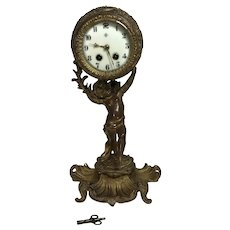 Antique Art Nouvoa Gilt Bronze Putti Holding Mantel Clock W/ North Wind Pendulum