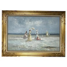 French Impressionist Oil Painting Victorian Ladies by Sea