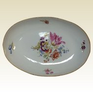 Antique 19th Century Meissen Porcelain Low Serving Bowl W/ Hand Painted Flowers