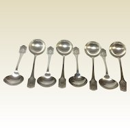Set of 8 Sterling Cream Soup Spoons With Monogram 'S'