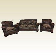 Rare 1920's 3 Piece Art Deco Salesman Sample Living Room Set Sofa & 2 Chair
