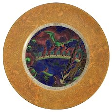 """1920's Wedgwood Fairyland Lusterware """"Imps on a Bridge"""" Plate"""