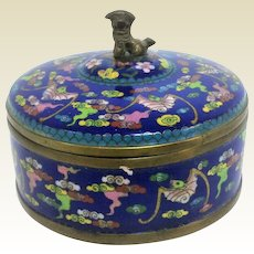 Chinese Cloisonne Covered Box with Foo Dog Circa 1940's