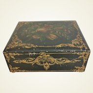 Large Antique 19th C Valuable Trinket Vanity Box Hand Painted Flowers