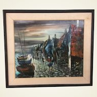 Marc Selva Oil on Canvas French Artist Harbor View Circa 1950's