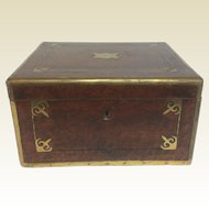 Fine Antique 19th C Burl Valuable Document Box With Brass Inlay