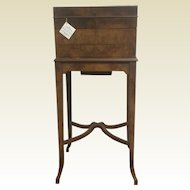 Rare Museum Quality Burl Walnut English Vanity Box on Stand W/ Fitted Sterling Accessories