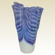 "Art Glass Studio OBG Blue Iridescent 7"" Vase"