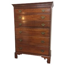 Circa 1800 Chippendale Cherry 6 Graduated Chest of Drawers