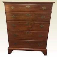 Circa 1800 Chippendale Pine 5 Graduated Chest of Drawers