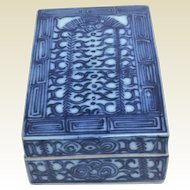 Antique Chinese Porcelain Box With Blue & White Decoration