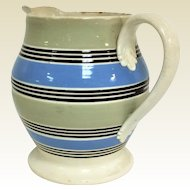 Large Antique 19th Century Mochaware 4 Color Pitcher 7""