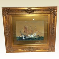 1936 Worden Wood Water Color & Gouache Of Revolutionary War Battle Ship Scene