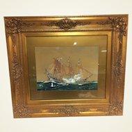 1936 Worden Wood Water Color & Gouache Of Revolutionary War Battle Ship Scene