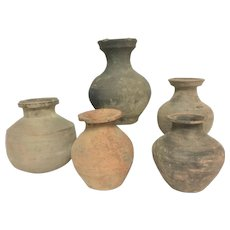Set of 5 Authentic Ancient Earthware Chinese Pot Vases Dating Back Han Dynasty