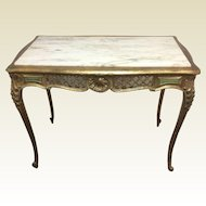 Antique French Carved Hall Library Entrance Table W/ White Marble & Gold Leaf