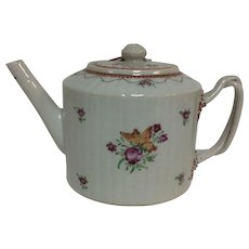 Antique 18th Century Chinese Porcelain Teapot with Flower Butterfly Decoration