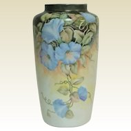 Vintage Bareuther Waldsassen Bavarian Hand Painted Flowers Signed Vase 12""