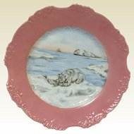 "Eglantine Germany Porcelain Platter Hand Painted With Polar Bear Seal Ship 13"""