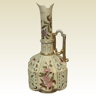 Large Royal Rudolstadt Reticulated Flower Decorated Ewer Vase