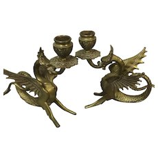 Pair of Antique Brass Winged Dragon Candlesticks