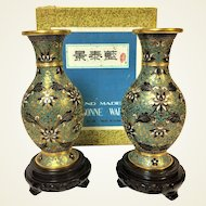 Fine Pair of Chinese Republican Cloisonne Vase in Original Box