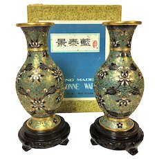 Fine Pair of Chinese Republican Cloisonne Vase in Original Box